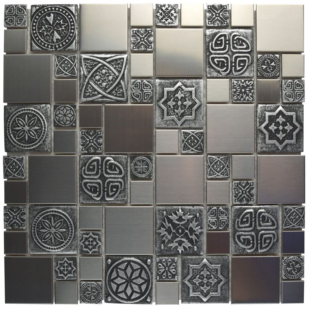 Meta Versailles 11 3 4 Inch X 11 3 4 Inch X 8 Mm Stainless Steel Over Ceramic Mosaic Tile 9 79sf Ca Mosaic Wall Tiles Mosaic Tiles