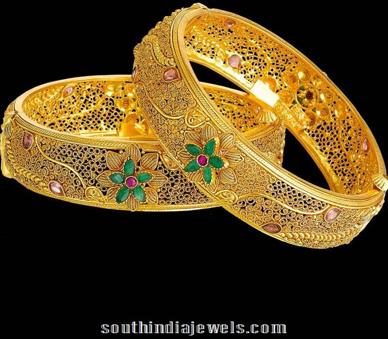 22k Gold Bangles From Kalyan Jewellers South India Jewels 22k Gold Bangles Gold Bangles Gold Bangles Design