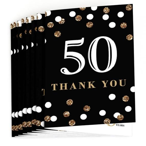 50th Birthday Thank You Cards Adult Gold