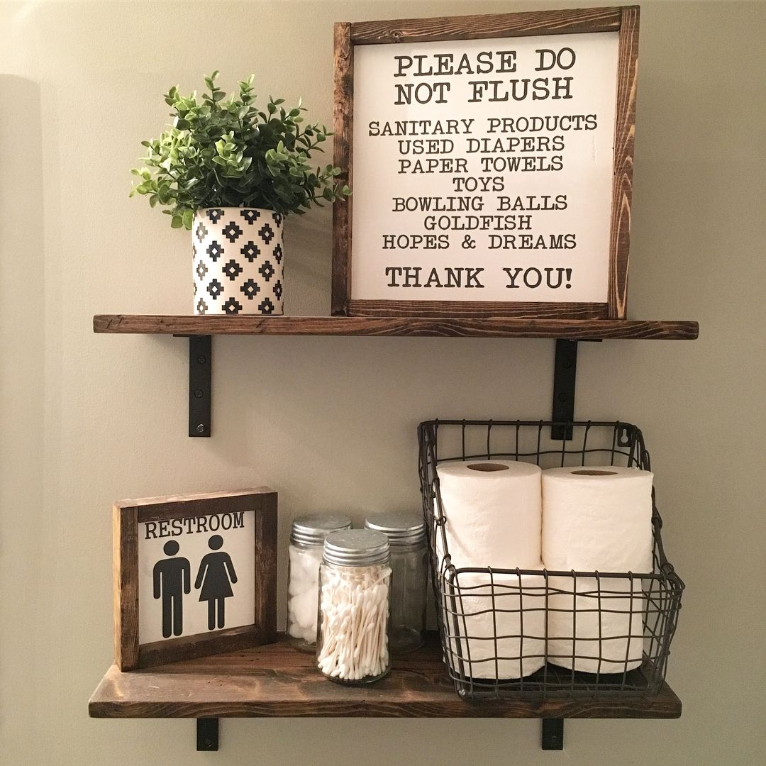 Genial Open Shelves | Farmhouse Decor | Fixer Upper Style | Wood Signs| Bathroom  Decor | Bathroom Sign