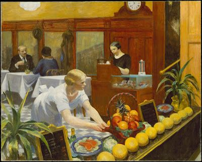 Edward Hopper - Tables for Ladies  Ah, Hopper, could make even a pleasant scene in yellow look cold and ominous.