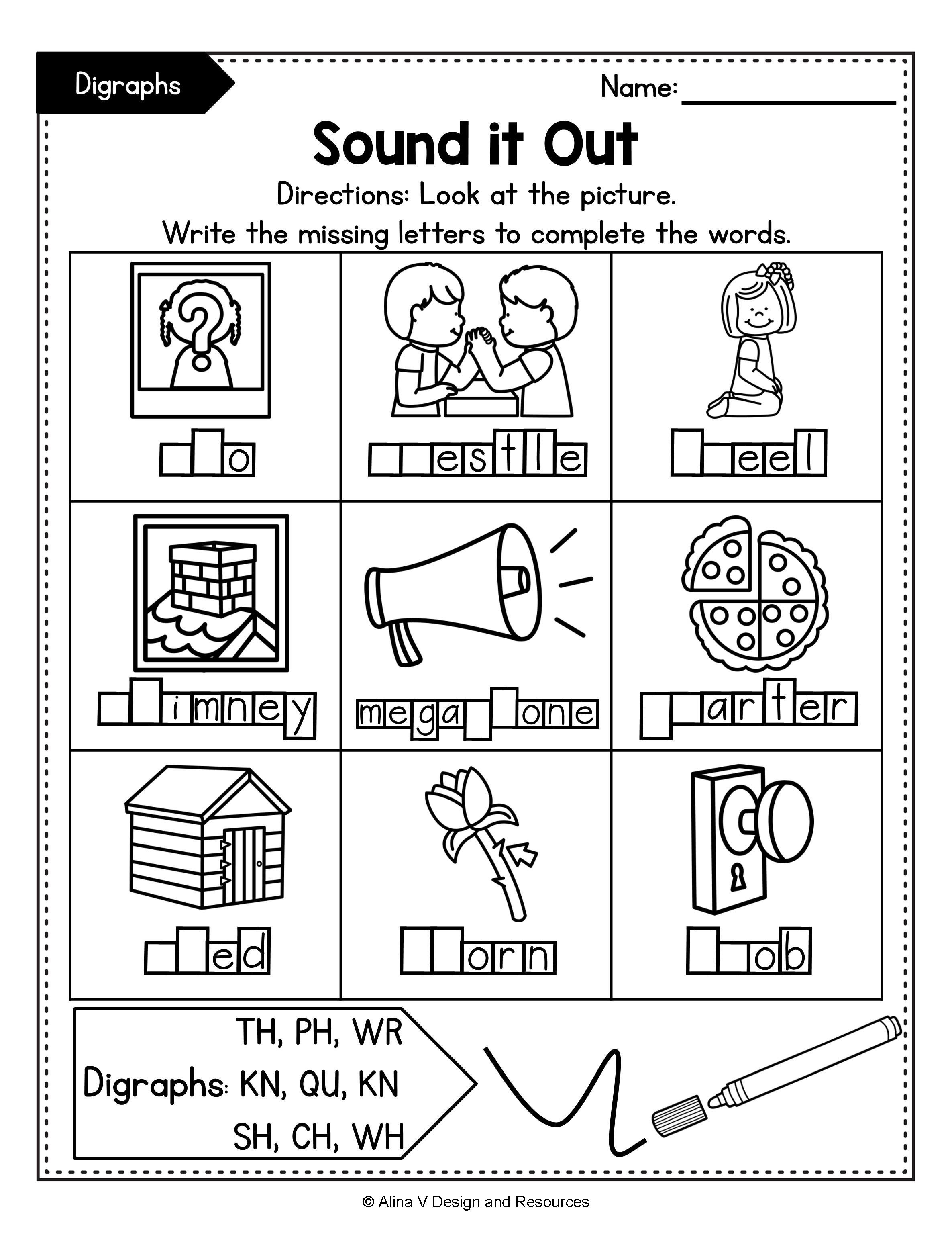 Consonant Digraphs Worksheets Sh Ch Th Wh Ph Kn Wr Qu In 2020 Digraph 2nd Grade Activities 1st Grade Activities