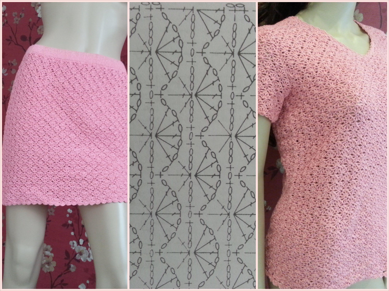 Crochet T-shirt And Skirt (+playlist) | Shirts, Sweaters, Tops ...