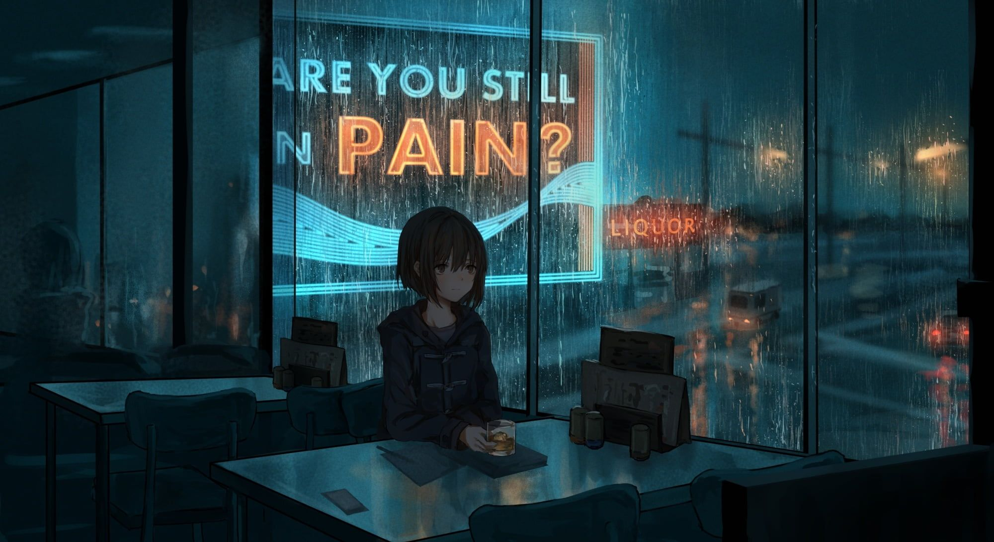 Night Rain Mood Anime Art Cafe 1080p Wallpaper Hdwallpaper Desktop Dark Anime Anime Scenery Wallpaper Anime Scenery