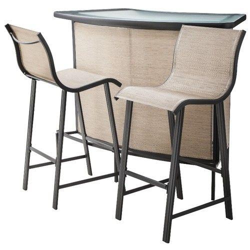 Tan 3 Piece Patio Bar Furniture Set Home Outdoor Sling Deck Backyard  Poolside | EBay