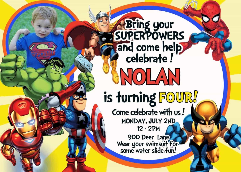 avengers birthday card template card
