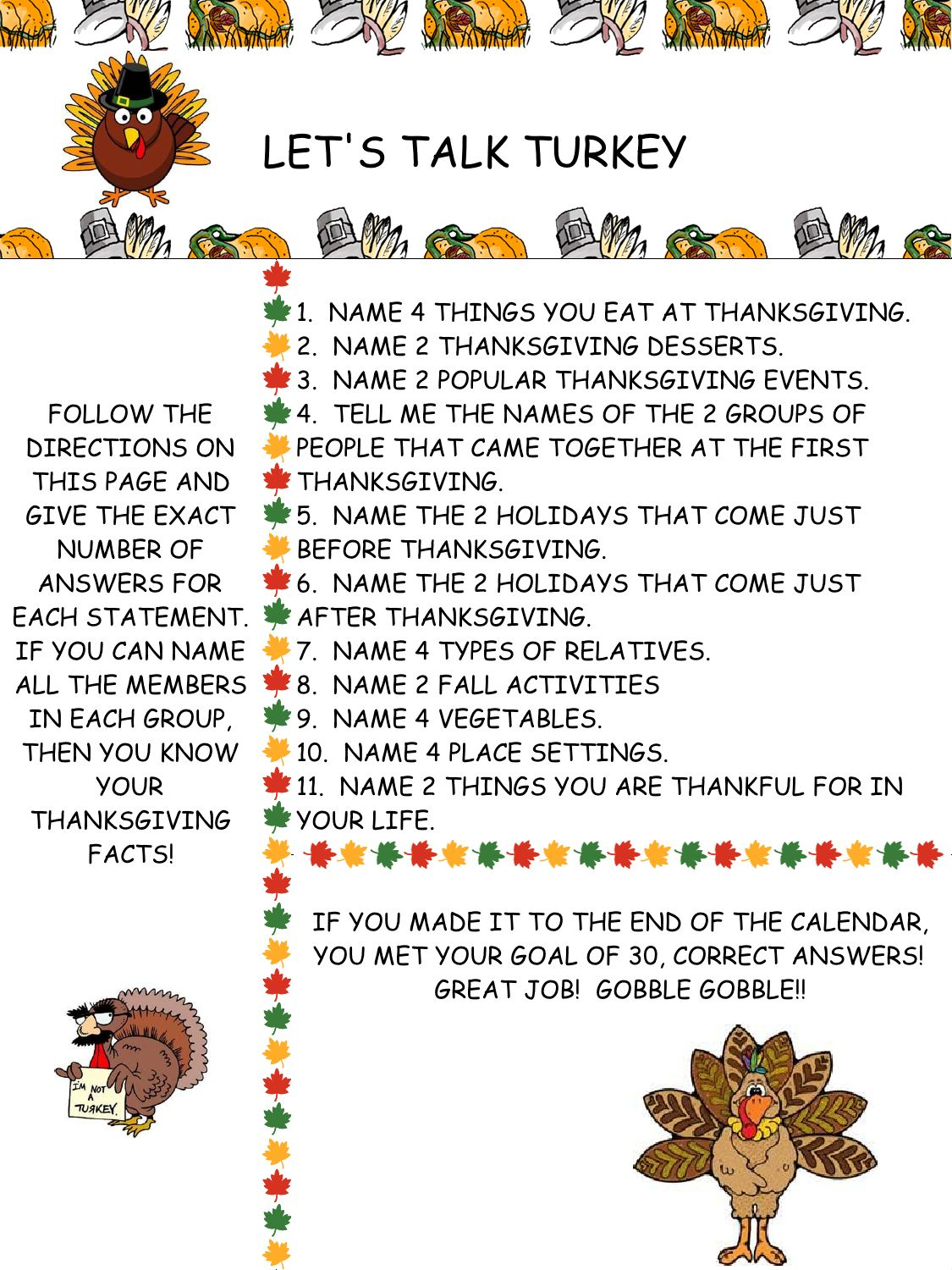 Let S Talk Turkey A Category Member Naming Activity For