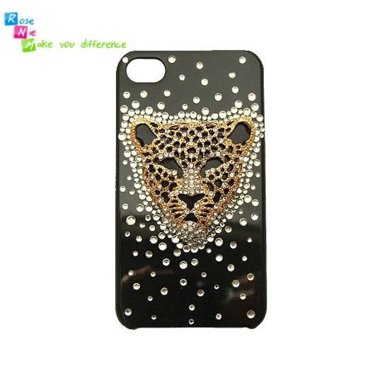 Handmade hard case, back cover for iPhone 4 & 4S: Golden leopard (custom are welcome)