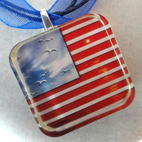 Freedom from Sea to Shiny Sea Patriotic Photo Pendent by KCCustoms
