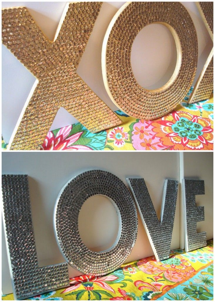 sequin letters diy