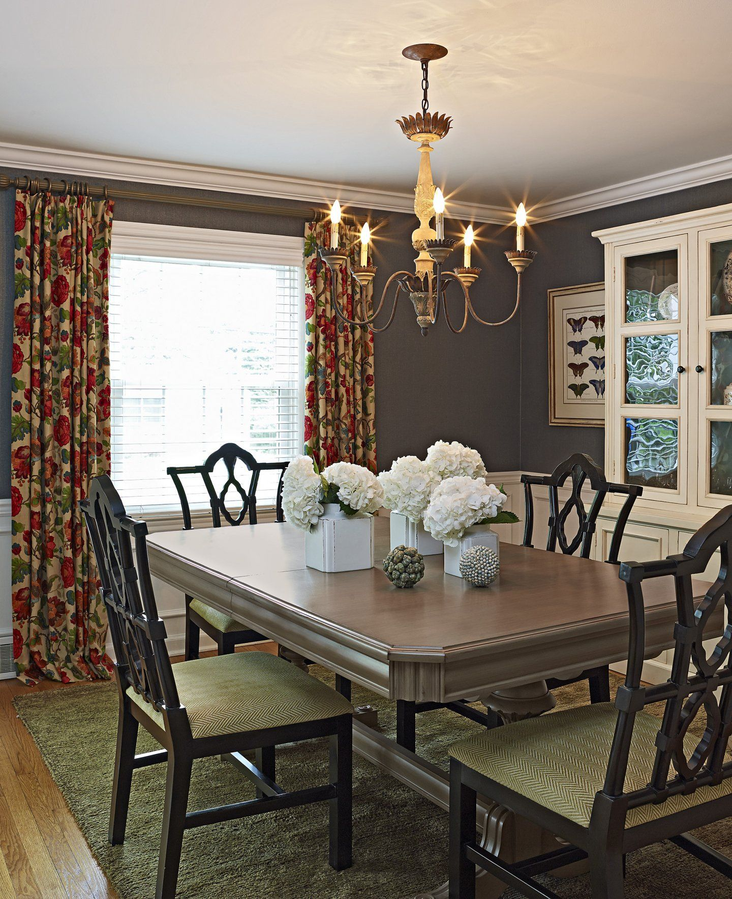 Bold Colors And Design Choices Transform A 1950s Colonial Revival Patterned CurtainsBold ColorsCandelabraIn StyleColonialRoom DecorChandeliersDining Room