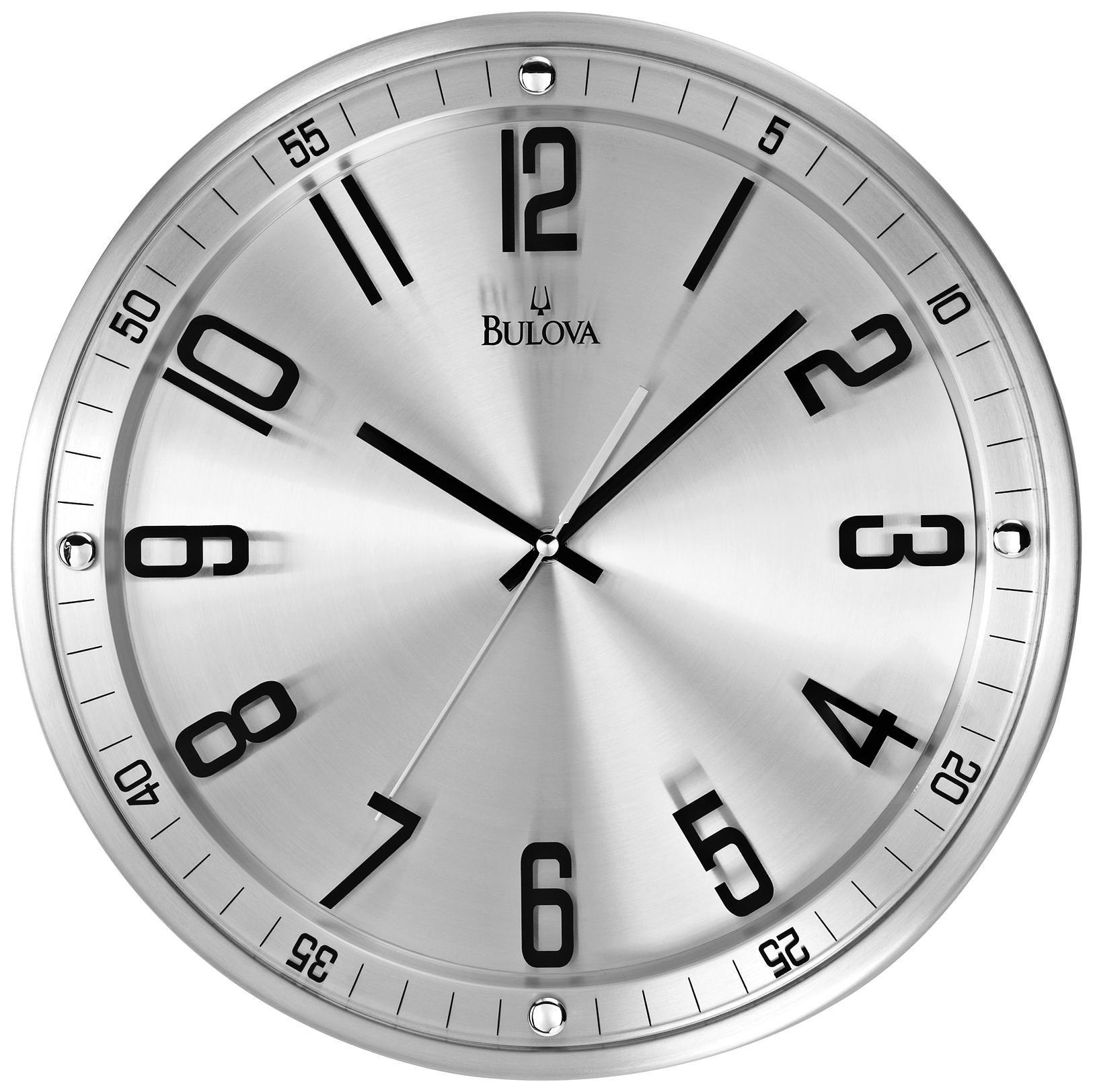bulova silhouette  high stainless steel wall clock   decor  - bulova silhouette  high stainless steel wall clock