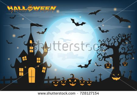 Happy Halloween background with pumpkin and zombies on the full moon - halloween backdrop