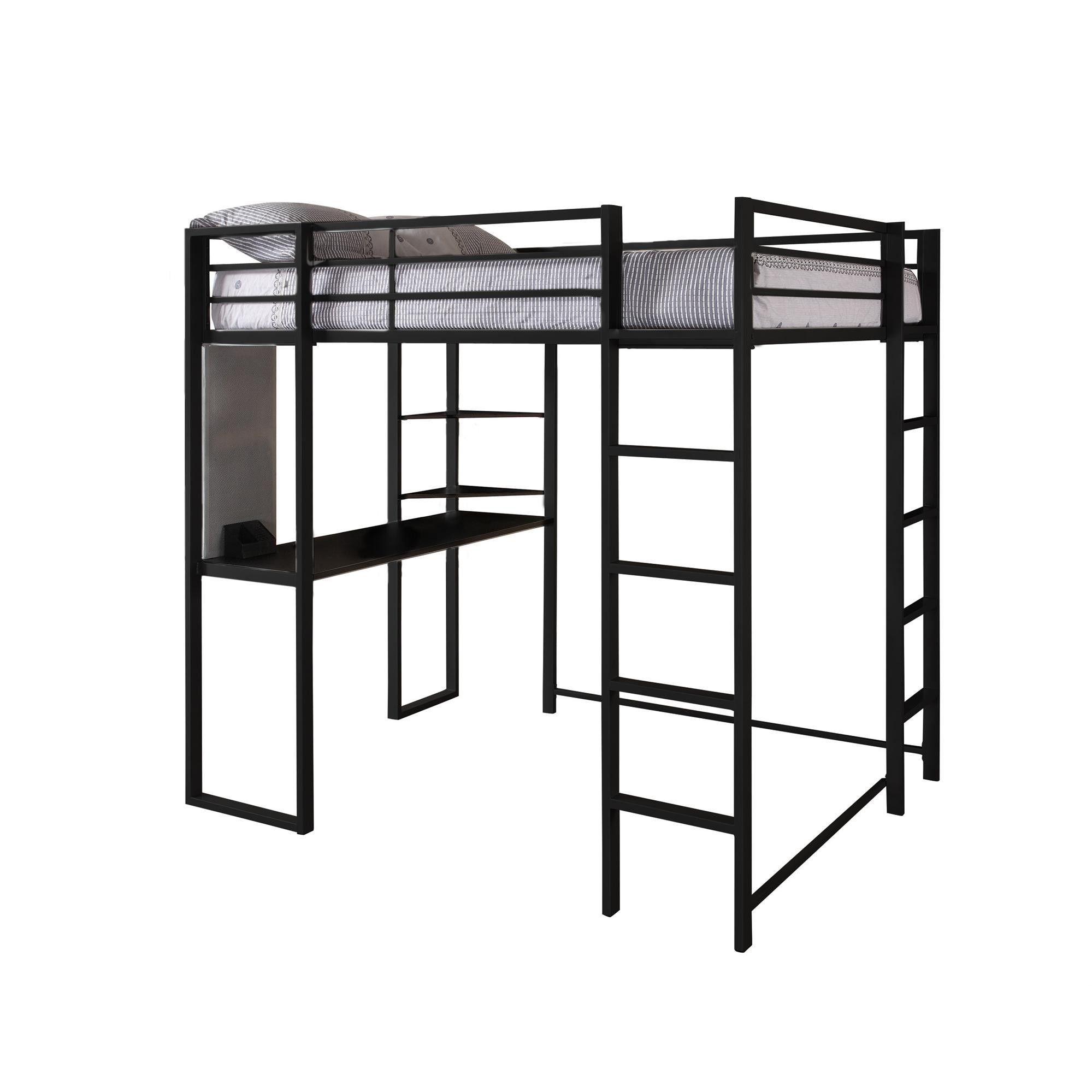 Dhp Abode Full Size Metal Loft Bed Abode Full Size Loft Bed Black