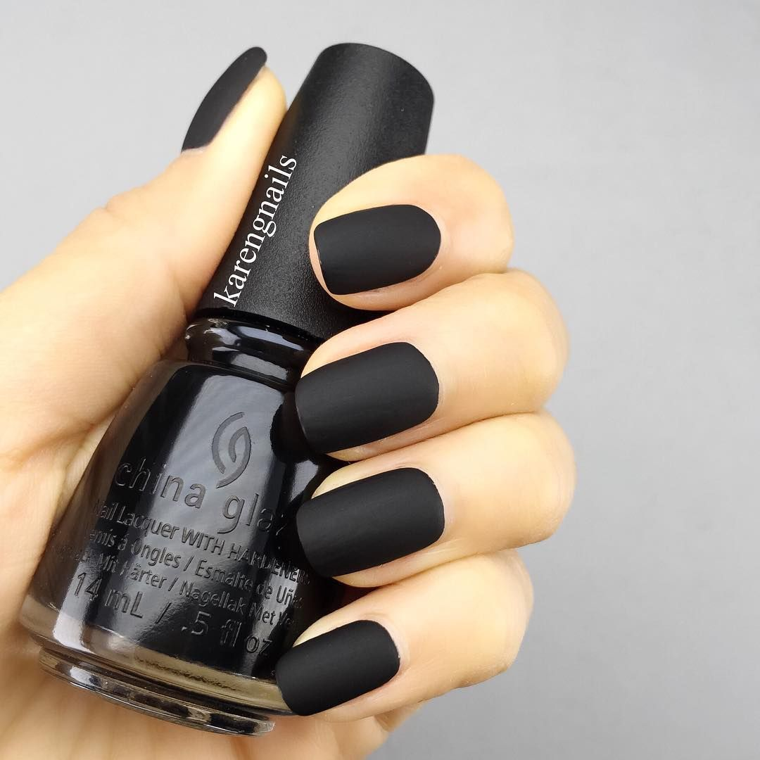 One Can Never Go Wrong With A Chic Matte Black Look For Their Nails