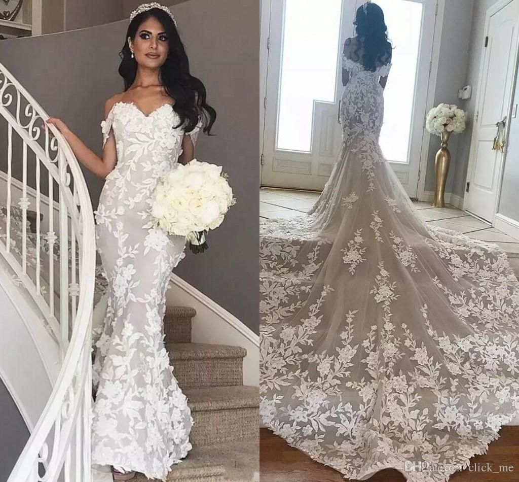 2018 Full Lace Mermaid Wedding Dresses Cap Sleeves Sweep Train V Neck Backles Gorgeous Wedding Dresses Lace Backless Bridal Gowns Country Style Wedding Dresses