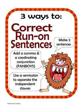 run on sentences activity school stuff run on sentences teaching writing sentences. Black Bedroom Furniture Sets. Home Design Ideas