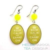 Keltaiset Keep Calm korvikset - Helmipaikka Oy - Joka päivä on korupäivä - Helmipaikka.fi -  Tea Design korvikset - Earrings
