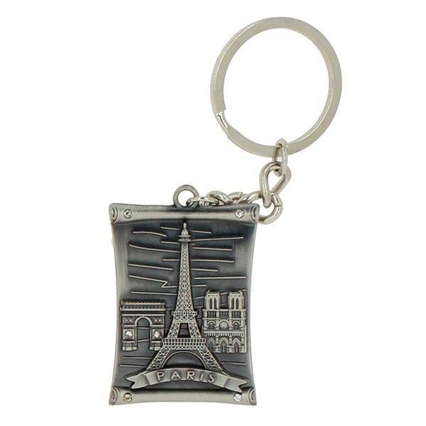 Porte clés monuments de Paris parchemin métal