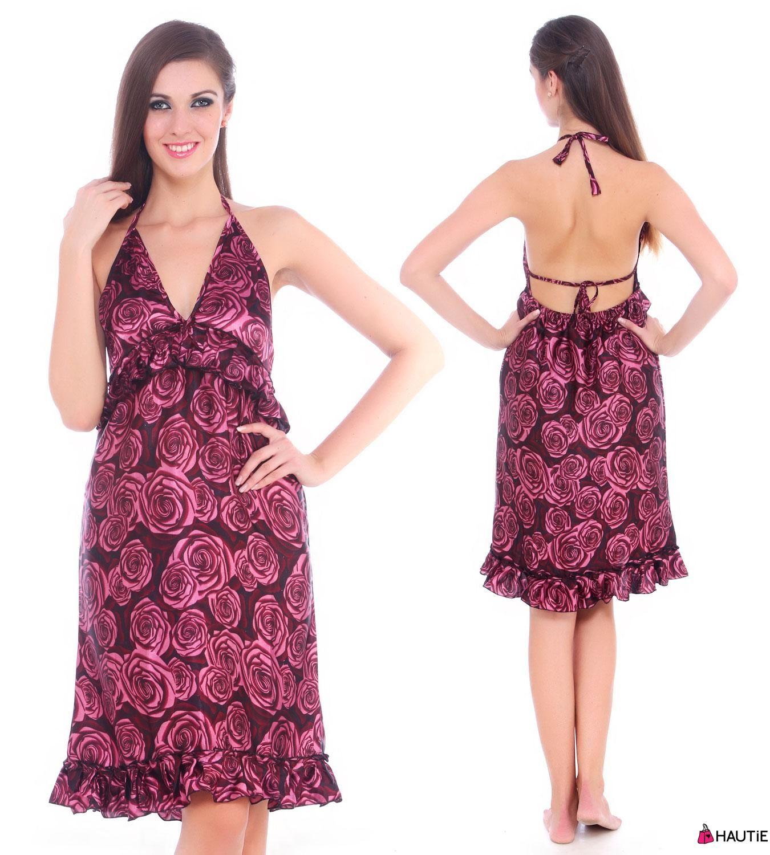 LADIES #HALTERNECK #BACKLESS #DRESS #WOMENS #SILKY #SATIN #SHORT ...