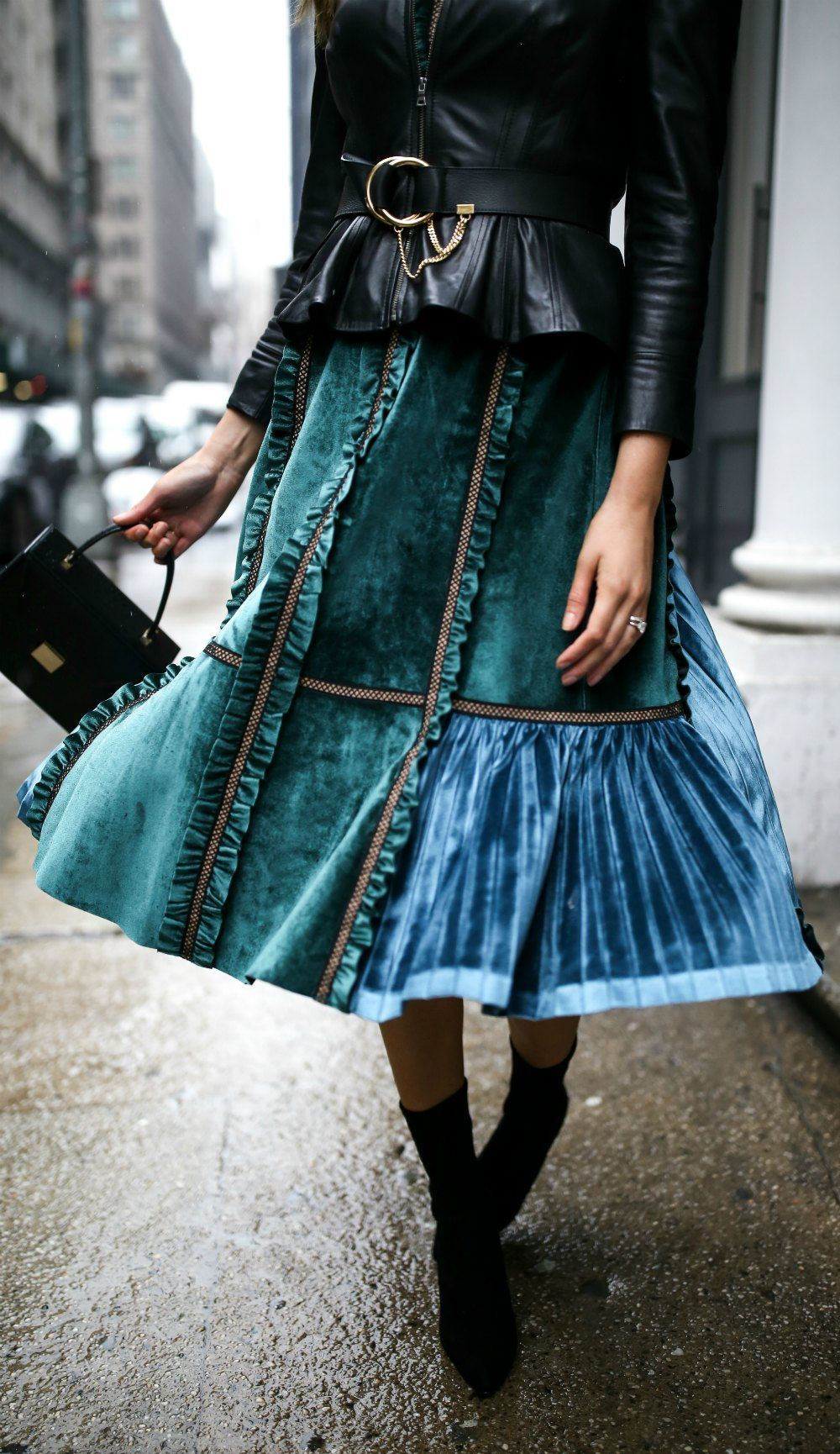 Velvet Dress Leather Jacket Forest Green Two Tone A Line Ruffle Trim Midi Dress Black Smooth Peplum Leat Leather Jacket Dress Fashion Nyc Blogger Fashion [ 1730 x 1000 Pixel ]