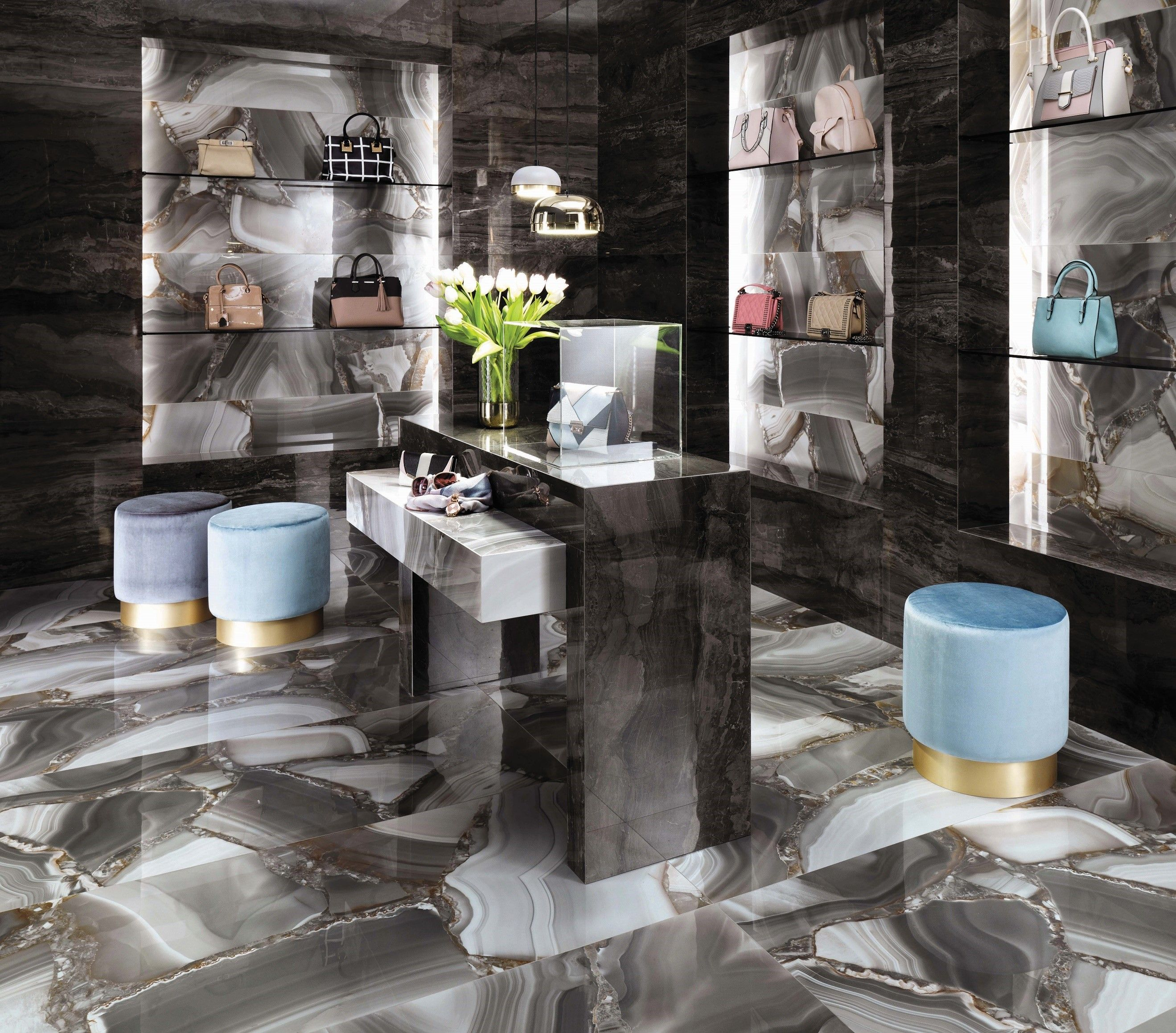 9632c013066c53 Minoli Marvel Agata Azul is an astonishing marble look tile inspired by a  gemstone. These porcelain tiles entices the eyes with an enchanting charm  of ...