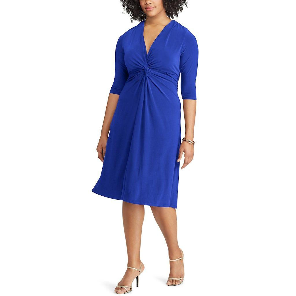 a60d3800c9 Plus Size Chaps Solid Knot-Front Empire Dress