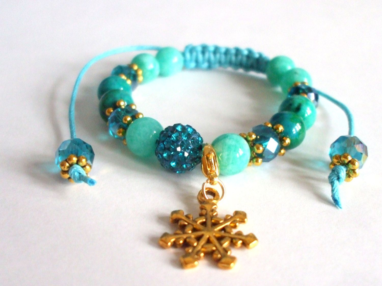 Amazonite and chrysocolla gemstone bracelet Winter jewel Shamballa bracelet Semi-precious stone bracelet Snowflake Gift for her by dorijewelnook on Etsy