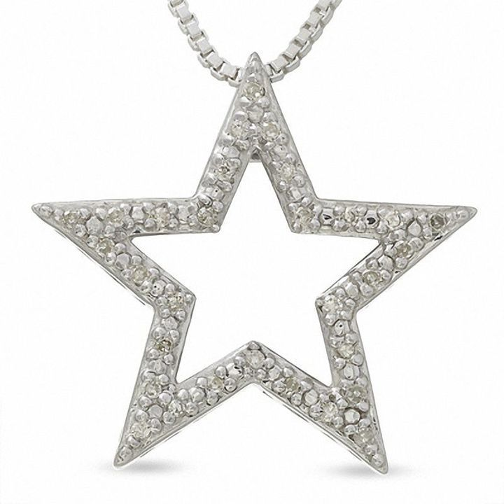 Zales Diamond Accent Texas Necklace in Sterling Silver zCd92Q