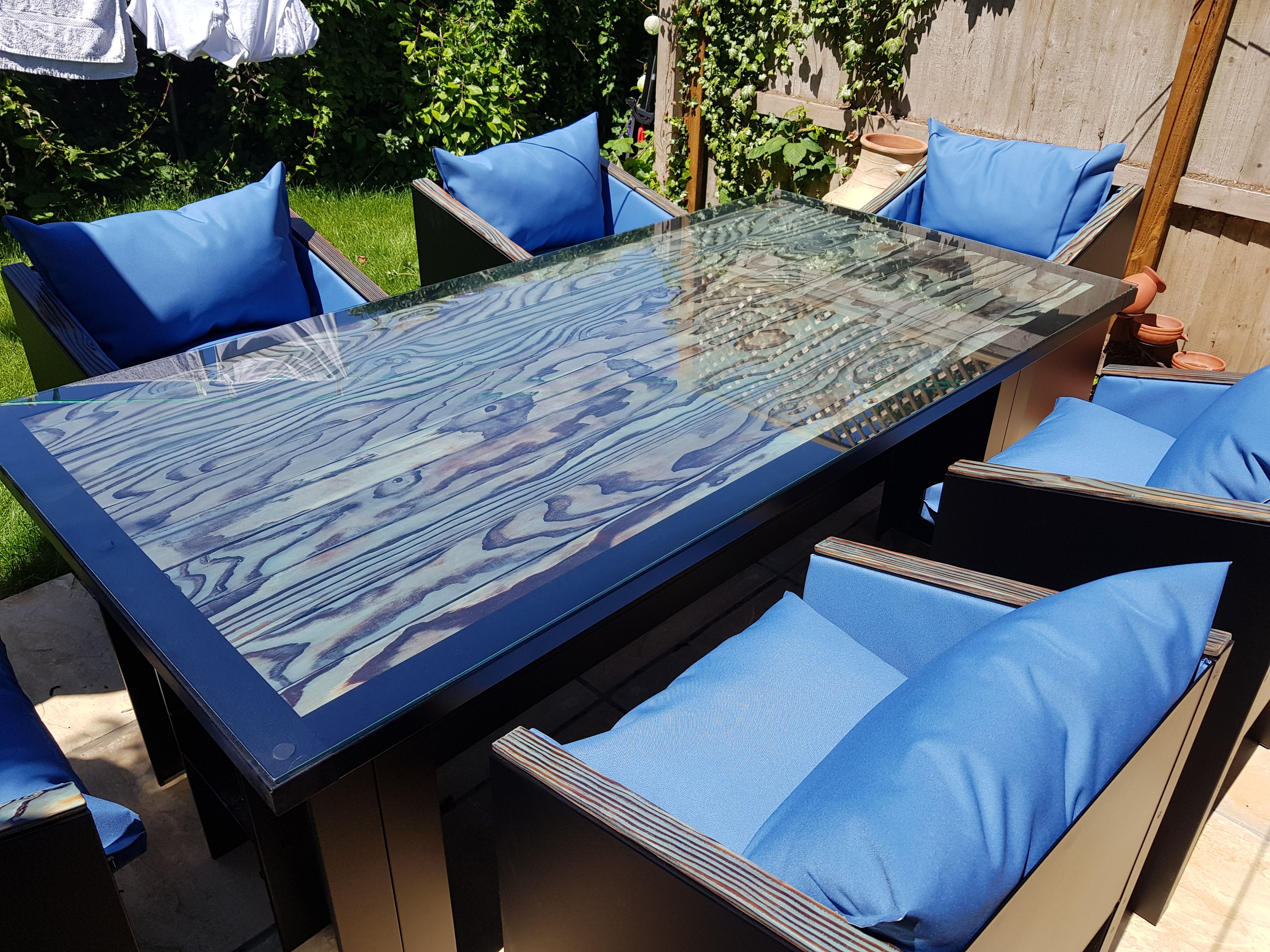 Blue Shou Sugi Ban Industrial Dining Table Used As A