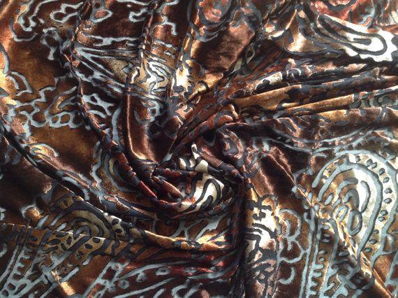 7/8 Yard Stretch Velvet With a Brown & Black Paisley Devore Print