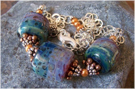 WIND and WATER SUN and SAND  Lampwork Necklace by MermaidCreek, $95.00