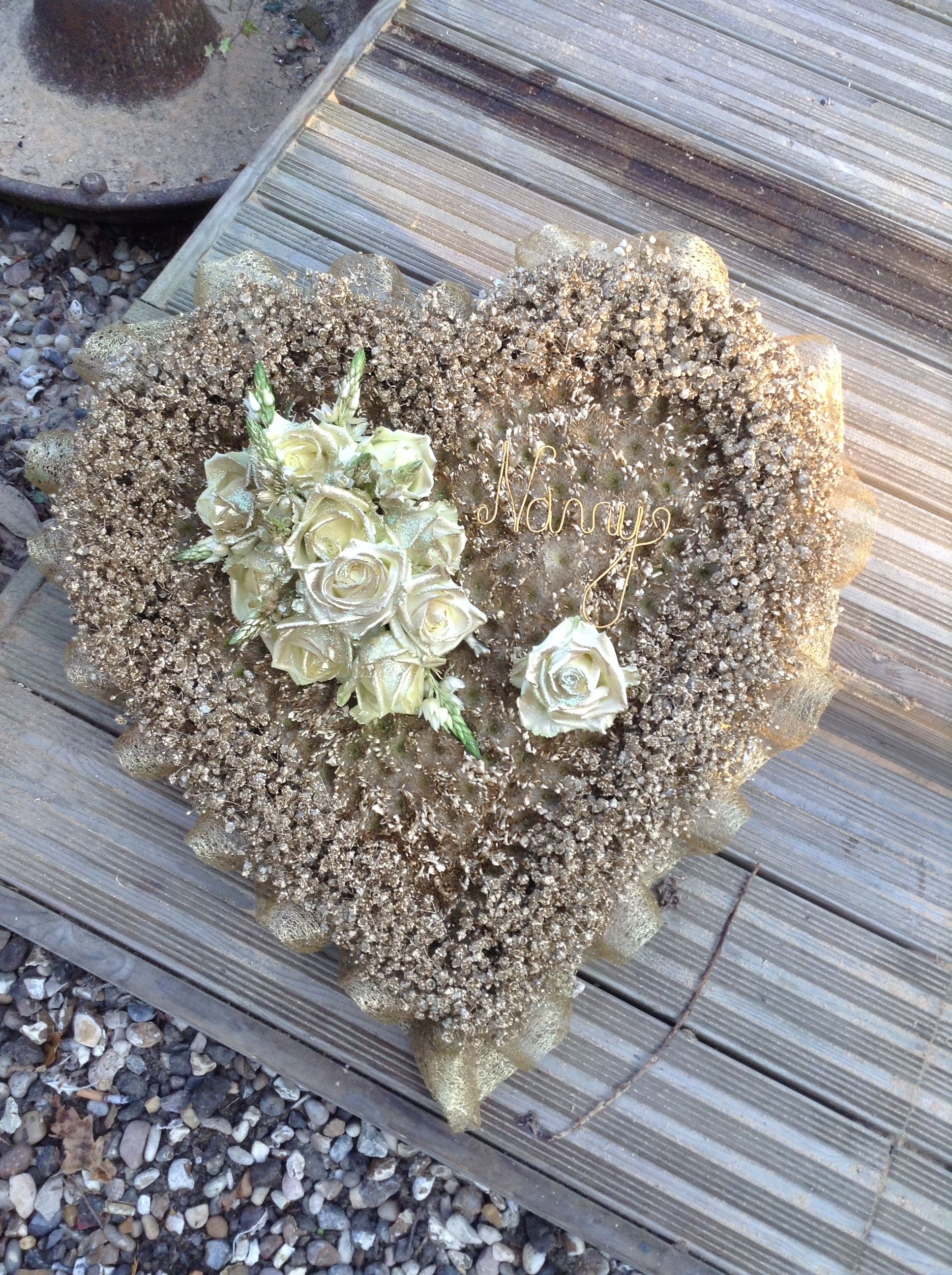 Heart Of Gold Funeral Flower Tribute Heart Flowers Bespoke Funeral