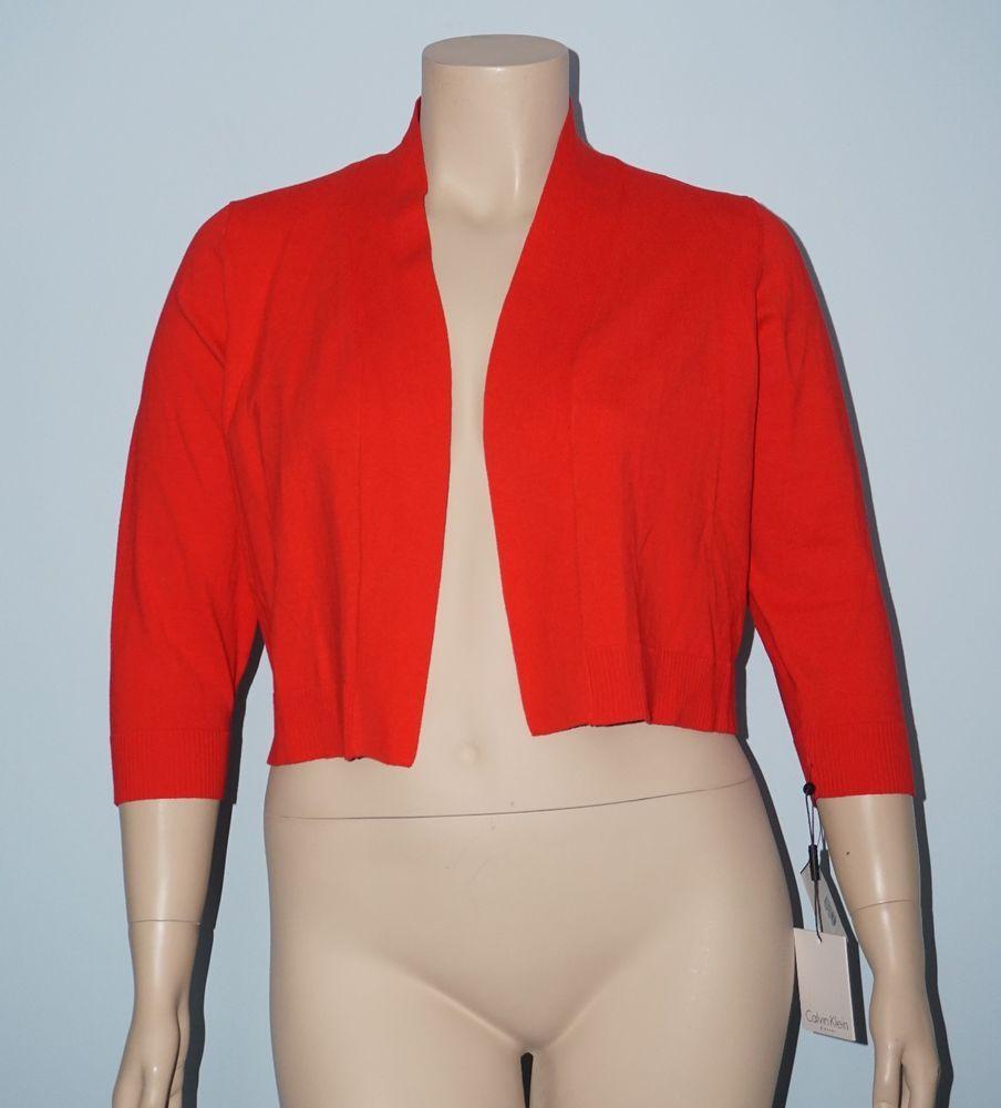 Calvin Klein NWT 1x Poppy Red 3/4 Sleeve Cotton Blend Crop Sweater Cardigan Top #CalvinKlein #Cardigan