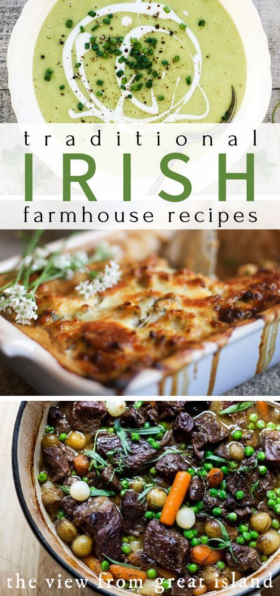 For St. Patrick's Day skip the Day-Glo green and opt for homey, traditional Irish farmhouse recipes.  Whether you're hunkering down through the last days of winter or rejoicing over the first burst of spring, these classic recipes will transport you to the Irish countryside! #irishfoodrecipes #traditionalirishrecipes #stpatricksday #holidayrecipes #baking #applecake #dessertideas #dinnerideas #irishstew #sidedish #boxty #potpie #souprecipes #colcannon