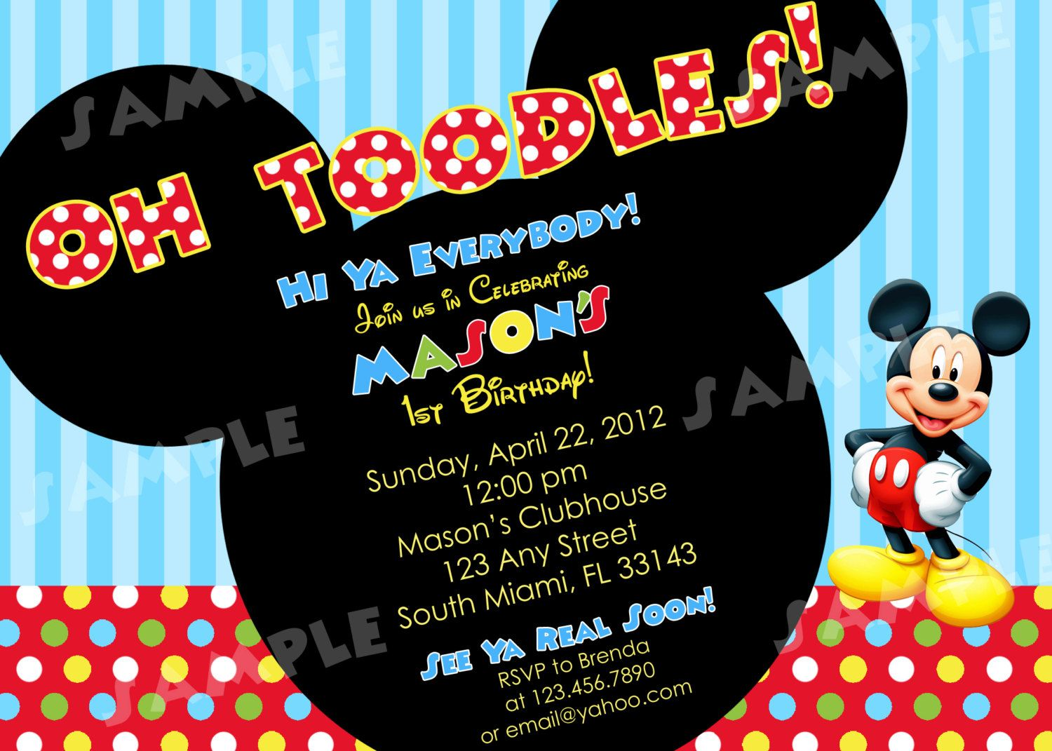 Toddlers Mickey Mouse Clubhouse Photo Birthday Invitations