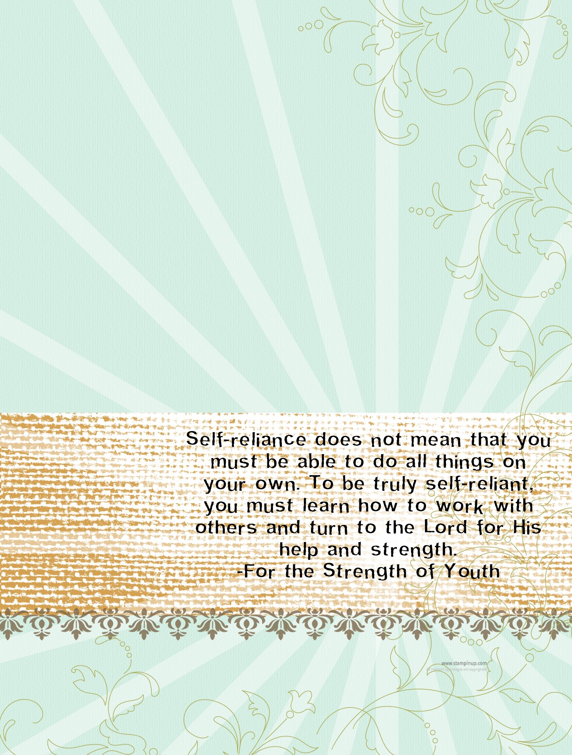 Self Reliance (Sunday School, Young Women, Young Men, For the