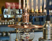 Copper Industrial Shade Pendant Light  - Minimalist Light - Industrial Hanging Light - Copper Lamp - Kitchen Light - Bar Light - Steampunk