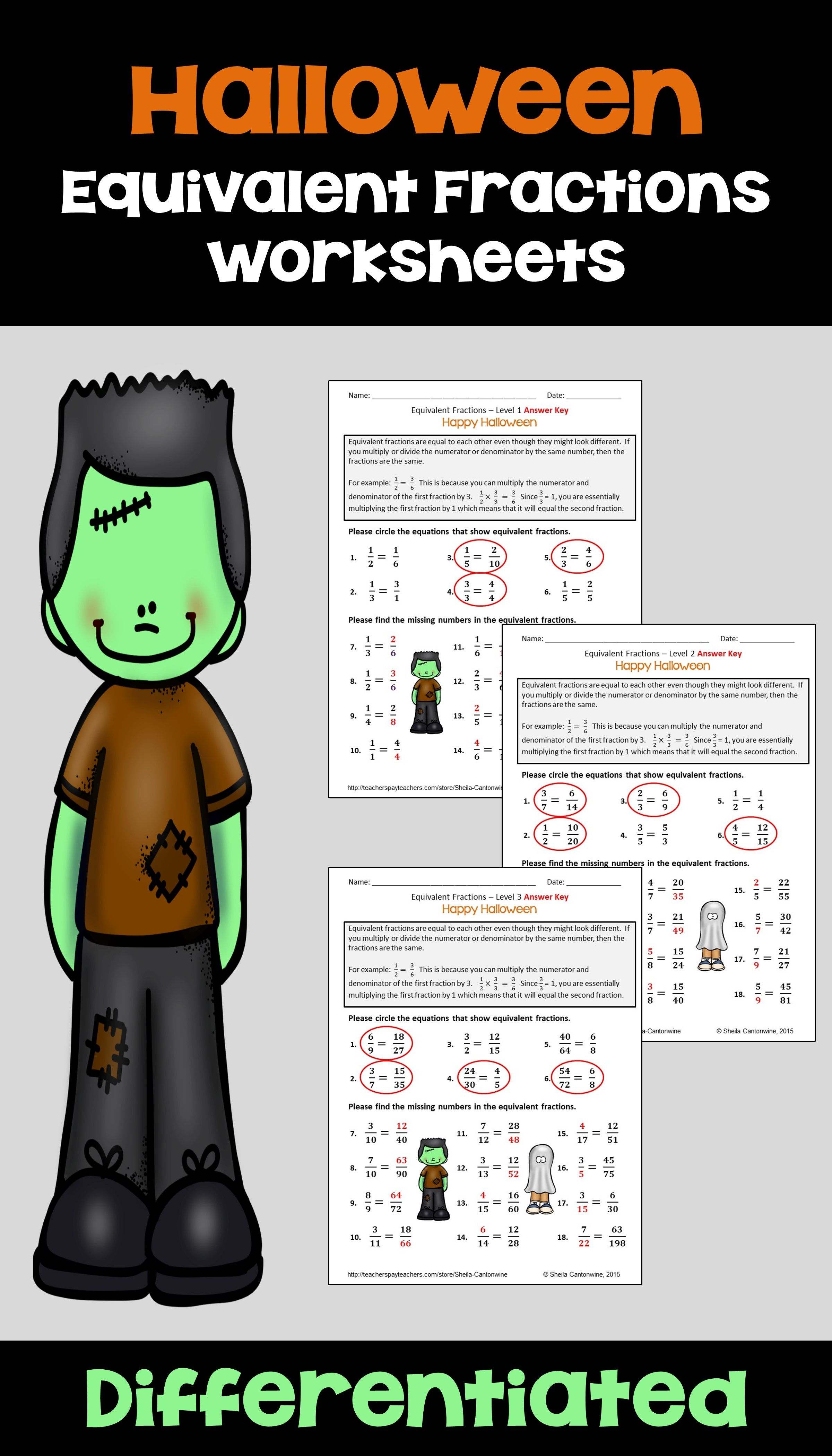 Halloween Math Equivalent Fractions Differentiated