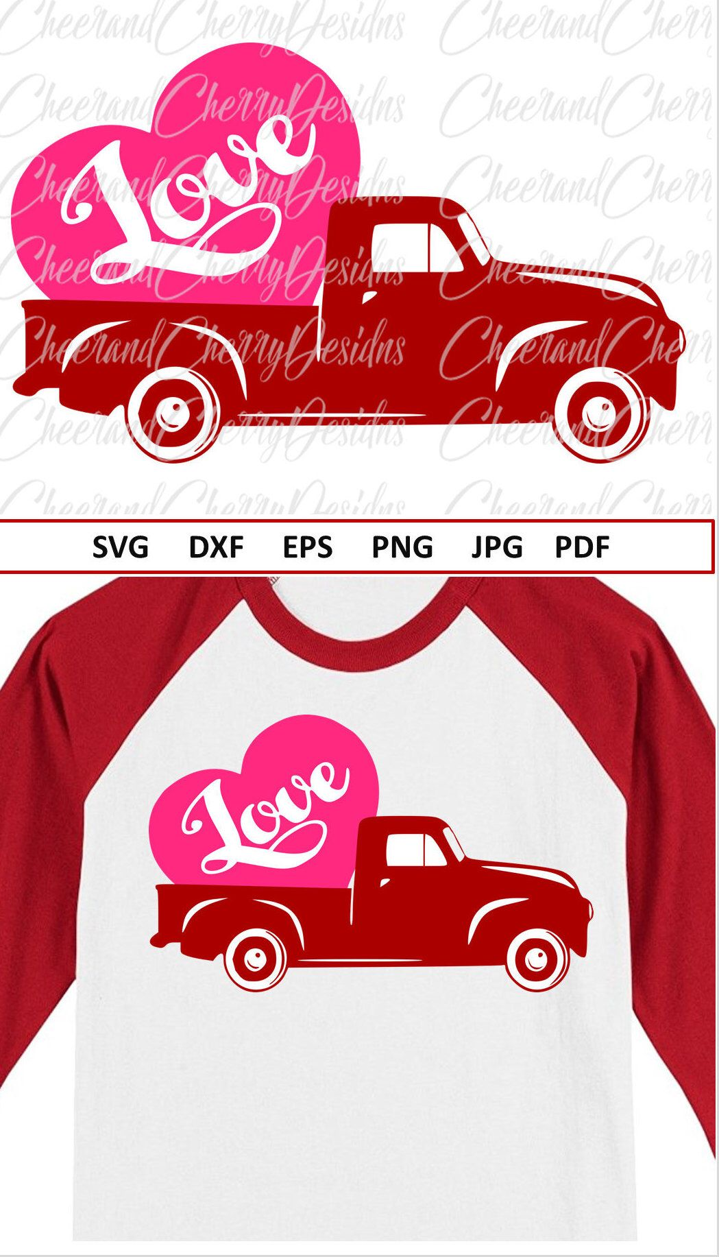 Red Truck Svg Valentine Svg File Silhouette Valentines Truck Svg For
