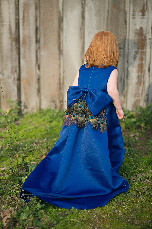 Flower girl dress royal blue peacock girls toddler etsy