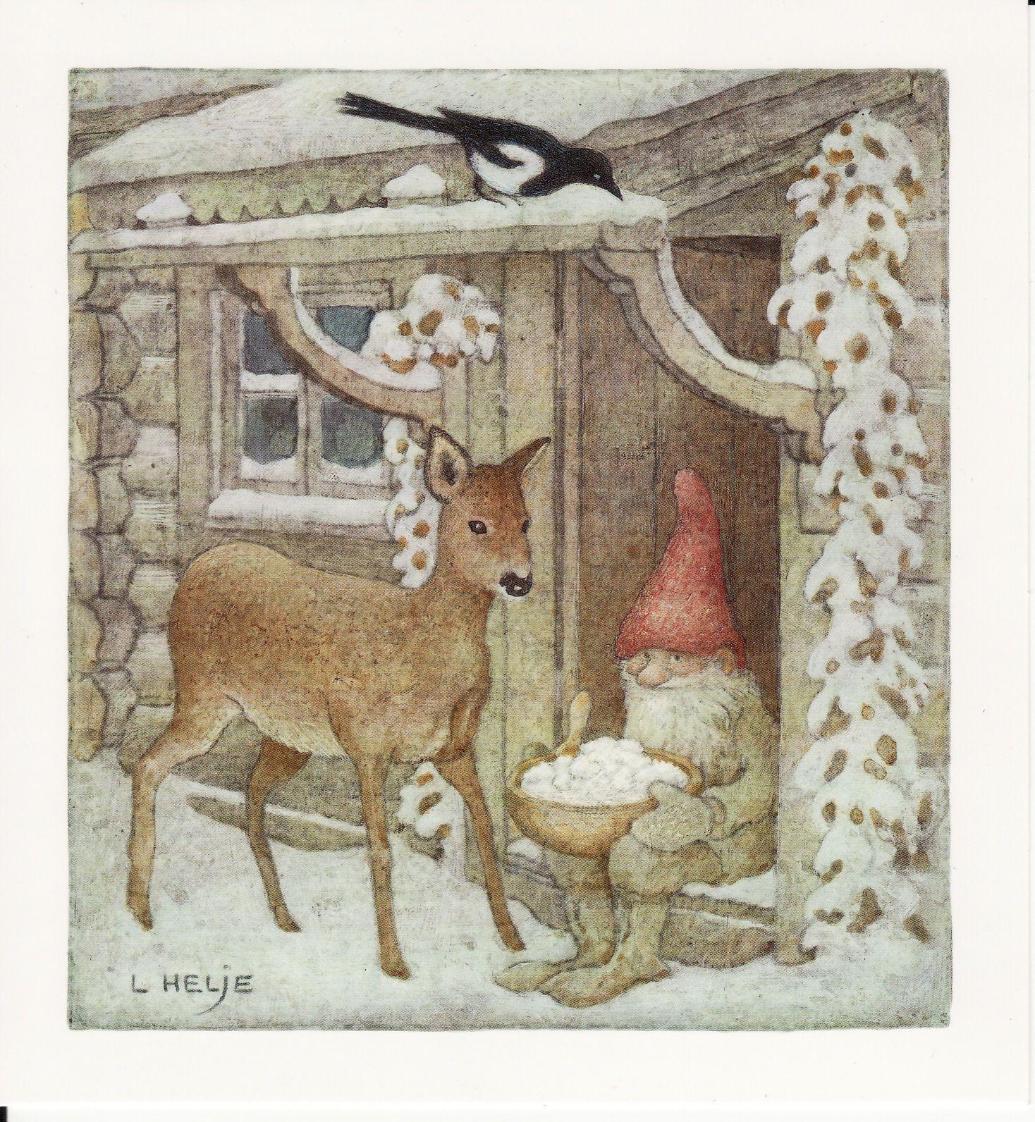 New Single Postcard by Lennart Helje Gnome Bird House Roe Deer | eBay