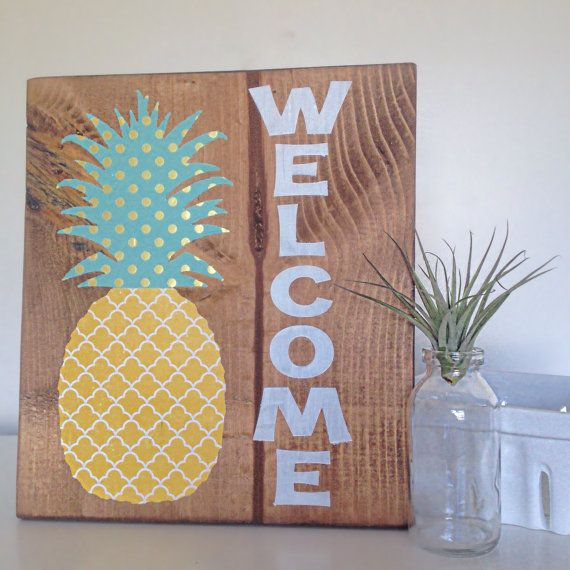 Pineapple Welcome Sign  Welcome Wood Sign  Pineapple Sign  Pineapple Home  Decor  Pineapple Welcome Art  Welcome Home Pineapple