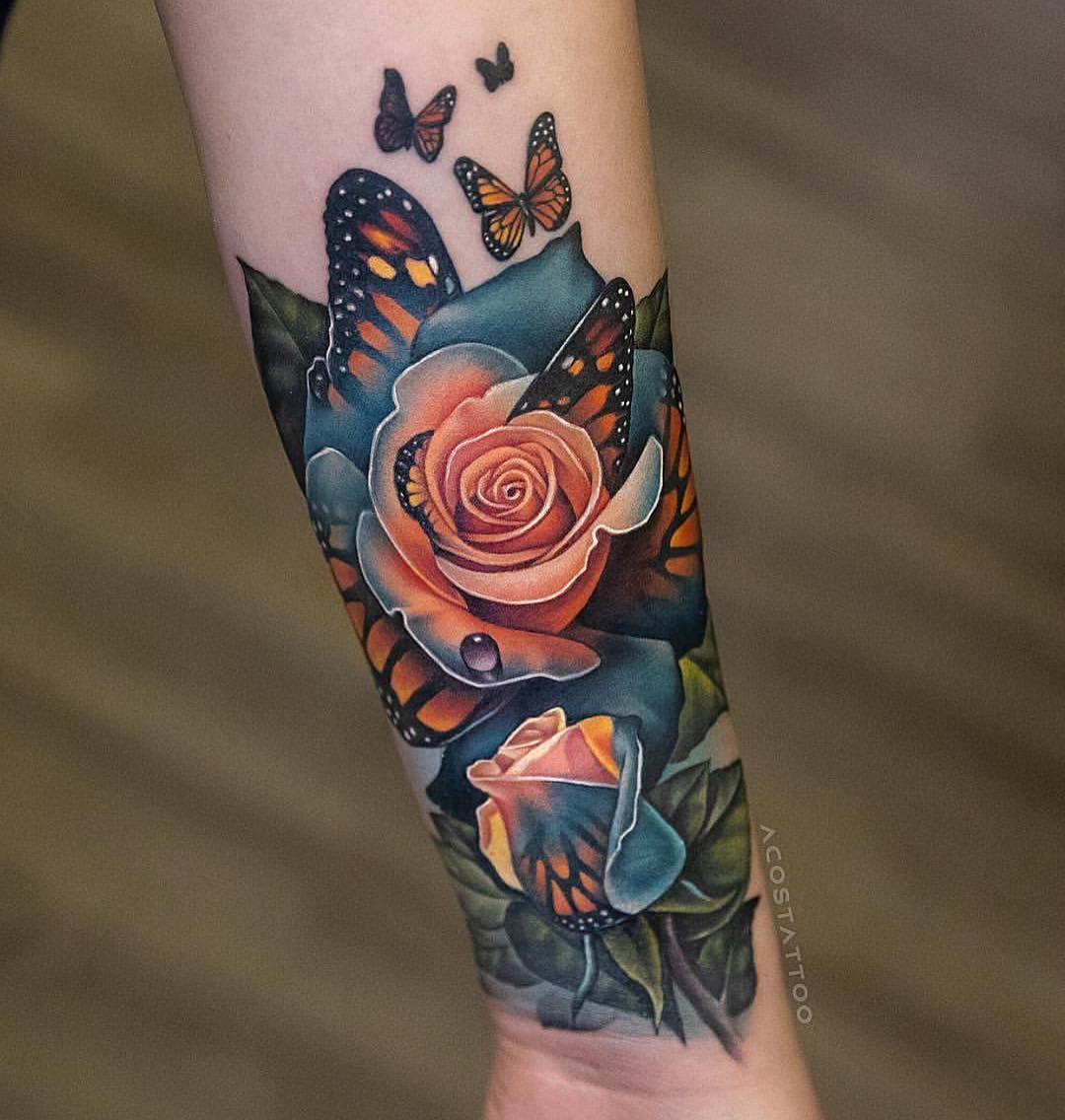 Butterfly rose by acostattoo in 2020 cover tattoo