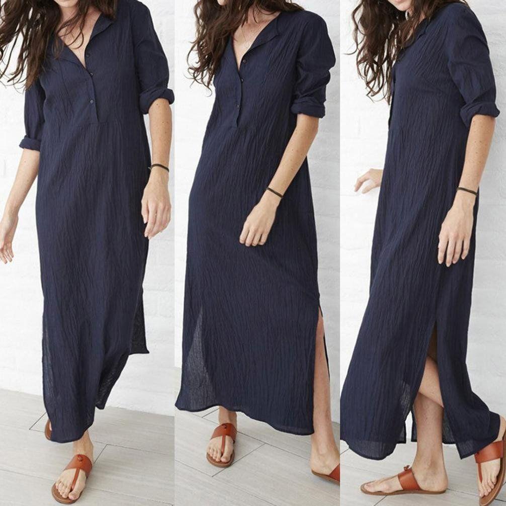 Womenâuacs casual long sleeve button down baggy linen splits maxi