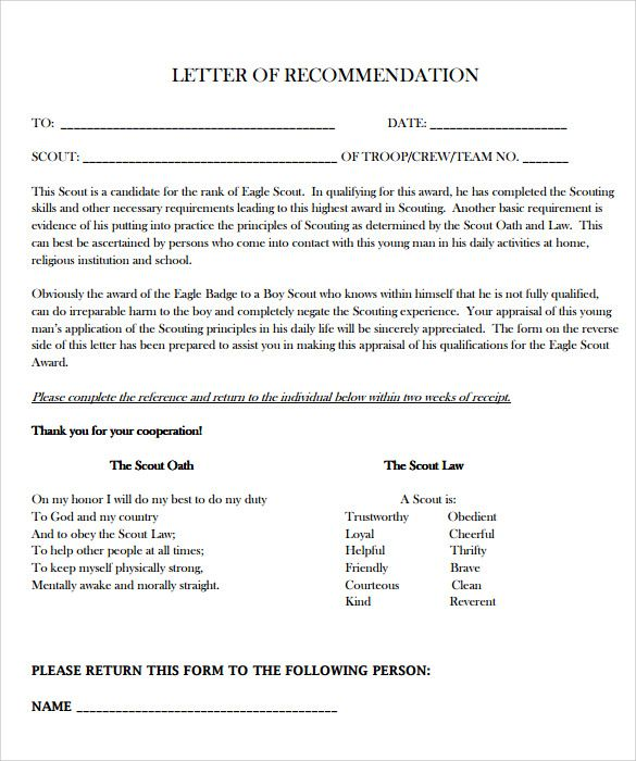 10 Eagle Scout Letter Of Recommendation To For Letter Of