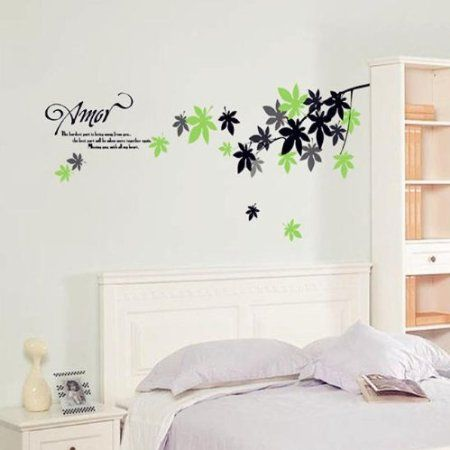 Wall Decals Yyone Leaves In Green Black And Grey With Amor Love