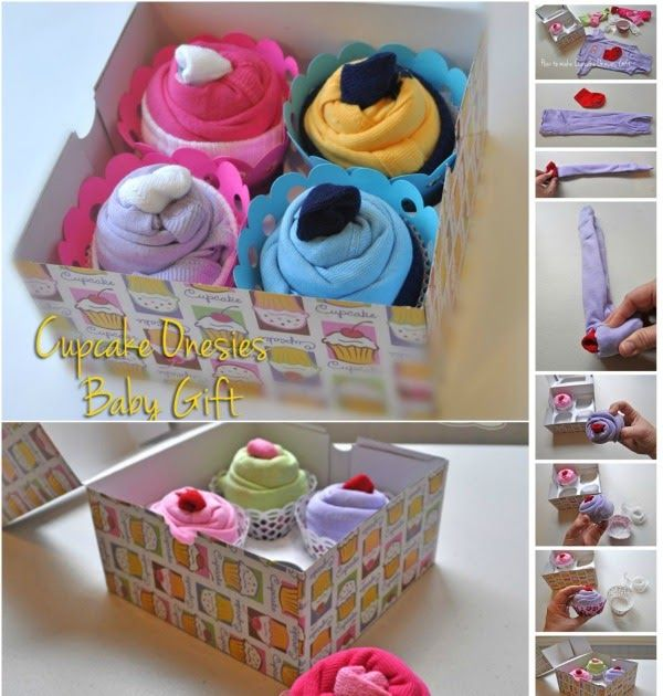 Adorable DIY Baby Gift Idea: How to Roll up Onesies like Cupcakes