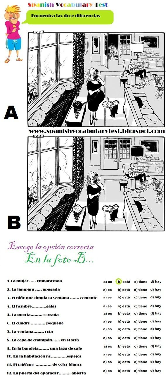 spanish test spanish vocabulary test spot the twelve differences ser estar haber y tener a1. Black Bedroom Furniture Sets. Home Design Ideas