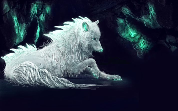 Download Wallpapers 4k White Wolf Predators Cave Art Wolf Besthqwallpapers Com Fantasy Wolf Mythical Creatures Wolf Wallpaper